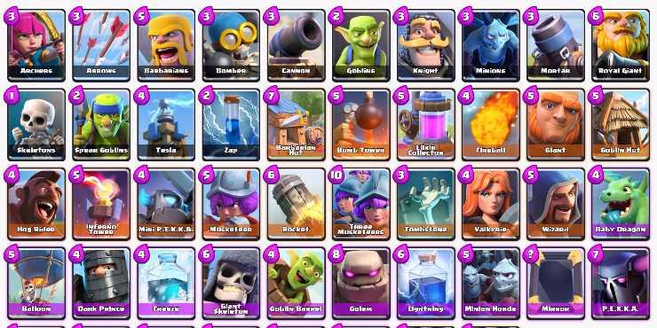 Les cartes dans Clash Royale